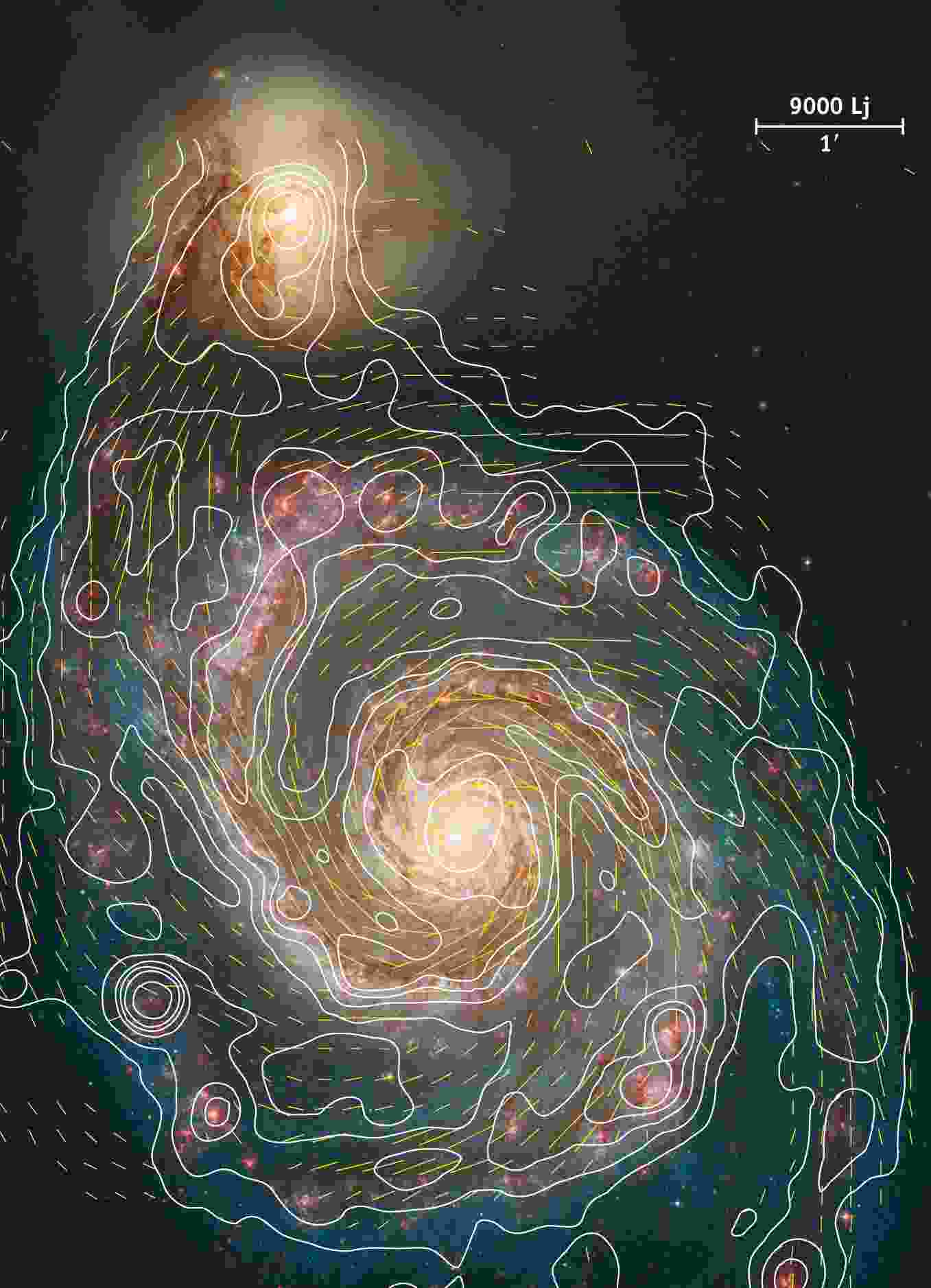 Magnetic fields in galaxy M 51 follows well the optical spiral structure, says Rainer Beck